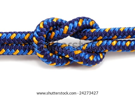 close-up photo of reef knot isolated on white - stock photo