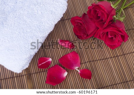 close up photo of rose spa concept - stock photo