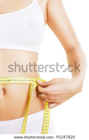 close-up photo of sporty woman body with tapemeasure on white background
