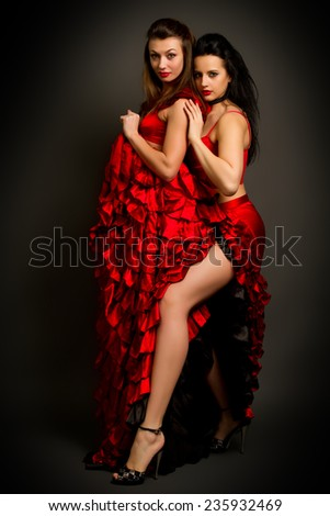 Close-up photo of the two lady in gypsy costume dancing flamenco  on a gray background - stock photo