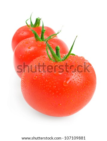 Close-up photo of tomatoes with water drops