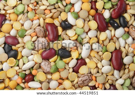 Close-up photo of various beans and cereals
