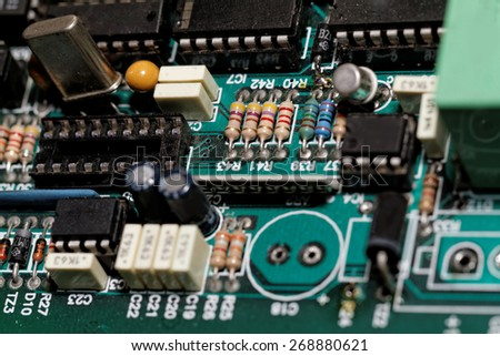 Close up photo of various electronic components - stock photo