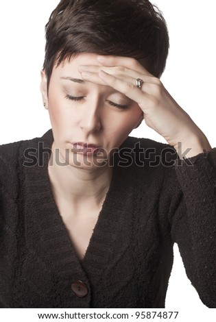 close up photo of woman having head ache