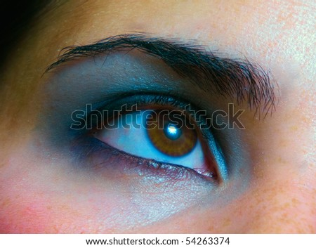 Close up photo of womans eye makeup