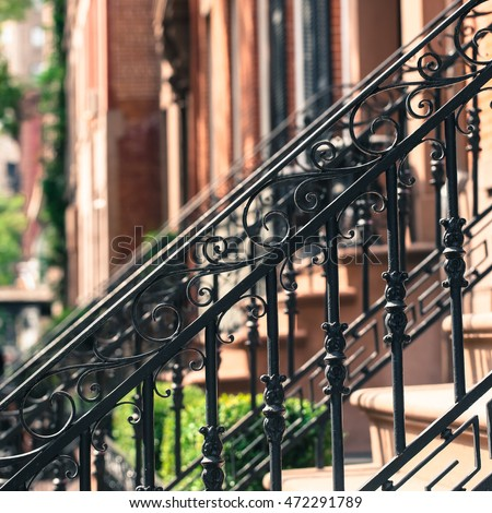 Awesome Close Up Photo Of Wrought Iron Detail In Front Of New York City Brownstone.  Vintage