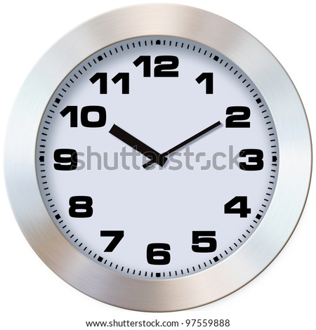 Close-up photo wall clock on a white background - stock photo