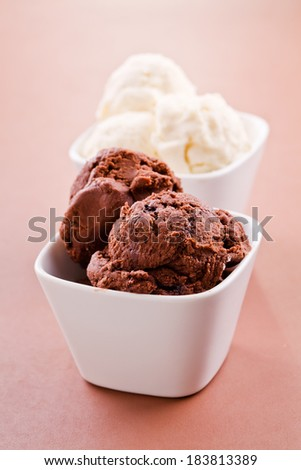 Close up photograph of a bowl of ice cream