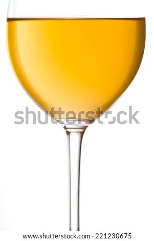 Close up photograph of a glass of white wine