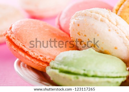 Close up photograph of some colorful tasty macarons