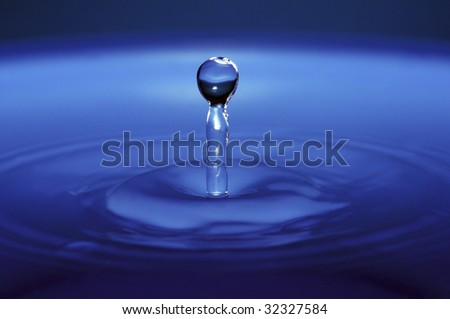 Close-up photograph of Waterdrop falling into Water.