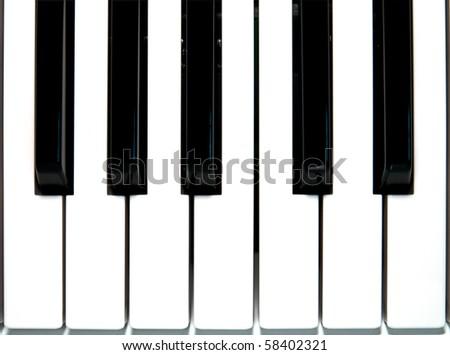 Close up piano key - stock photo