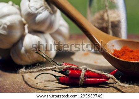 close up picture  lot of red hot chilli peppers and spicy, garlic on wooden kitchen, curry - stock photo
