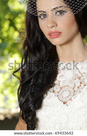 Close up picture of a bride on her wedding day - stock photo