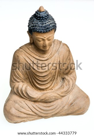 Close-up picture of a Buddha  Bronze statue. - stock photo