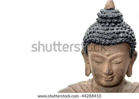 Close-up picture of a Buddha Face in Bronze, from Nepal. - stock photo