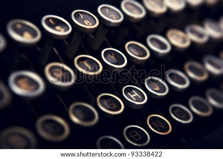Close-up picture of a keyboard from a vintage typewriter - stock photo