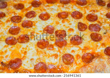 Close up picture of a pepperoni pizza - stock photo
