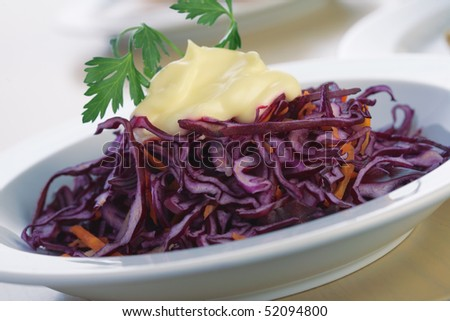 Close-up picture of a salad from red cabbage with mayonnaise and parsley. - stock photo