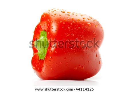Close-up picture of a wet Bell pepper with water drops on it