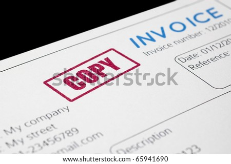 "Close-up picture of an invoice, light blue tint red ""copy"" stamp - stock photo"