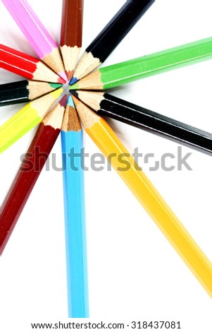 Close-up picture of color pencils. - stock photo
