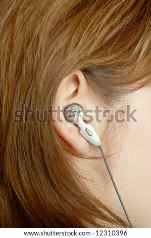 close-up picture of girl ear - stock photo
