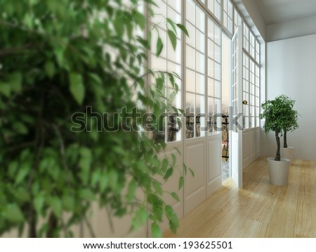 Close-up picture of half-opened balcony door and blurred houseplant in front - stock photo
