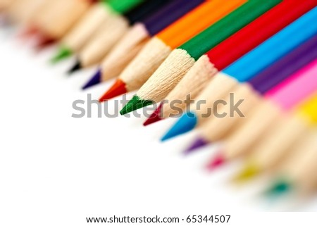 close-up picture of multicolor pencils (very small DOF) - stock photo