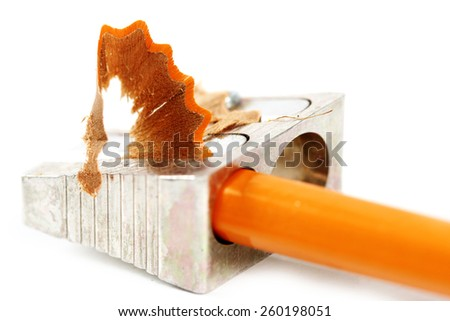 Close-up picture of pencil and sharpener. - stock photo