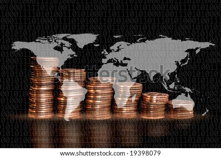 close up pile of American One Cents on world map - stock photo