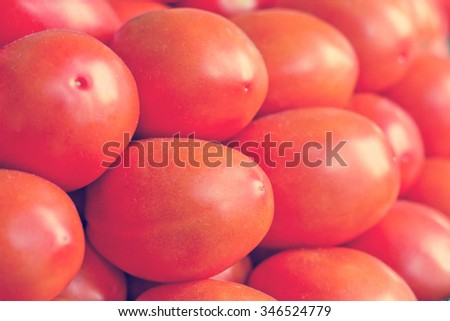 Close up pile of farmers market organic plum tomatoes - stock photo