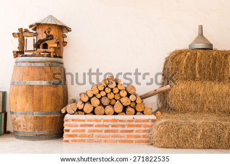 close up pile of firewood material on a farmhouse background - stock photo