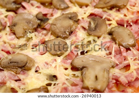 close up pizza with mushrooms, hum and tomatoes