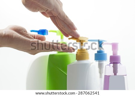 Close up Plastic bottle of skin care product on white background - stock photo
