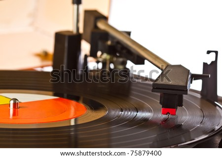 close up playing turntable - stock photo