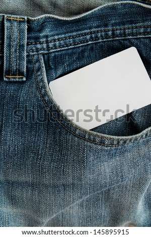 close up pocket with a credit card or calling card or name card - stock photo