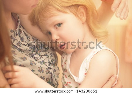 Close up portrait affectionate mother and daughter - stock photo