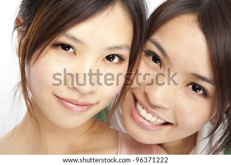 close up portrait asian girls face - stock photo