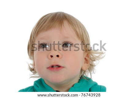 Close-up portrait.Cute little child smiling . isolated on white background