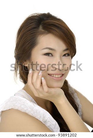 Close-up portrait gorgeous young woman smiling - stock photo