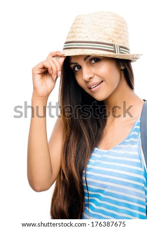 Close-up portrait hipster Indian woman white background - stock photo