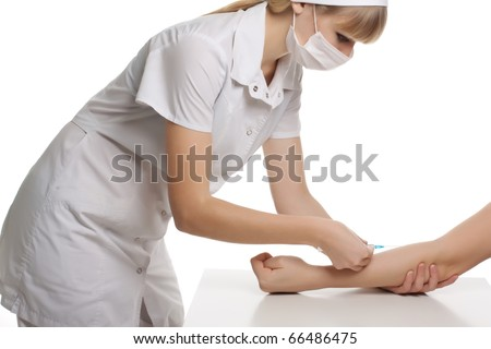 Close up Portrait image of beautiful young female doctor of an injection on white background - stock photo