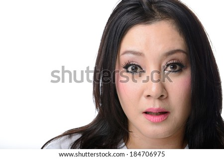 Close-up portrait of a asian woman scared and afraid with wide opened eyes isolated on a white background - stock photo