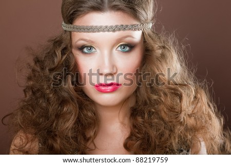 Close-up portrait of a beautiful brown-haired gilr, European, White, Caucasian, - stock photo