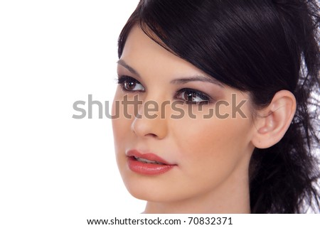 Close-up Portrait of a Beautiful Brunette Young Woman's Face isolated on White with Copy space - stock photo