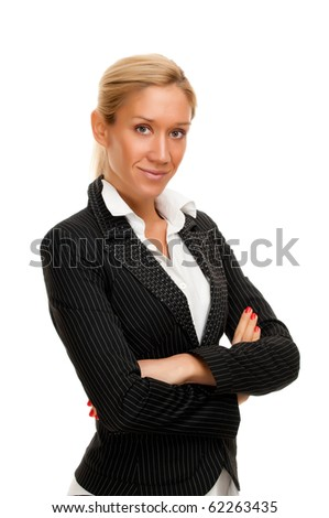 Close up portrait of a beautiful businesswoman isolated on white - stock photo