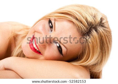 Close up portrait of a beautiful caucasian blond woman isolated on white background