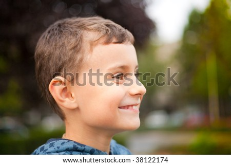 Close-up portrait of a beautiful child outdoor