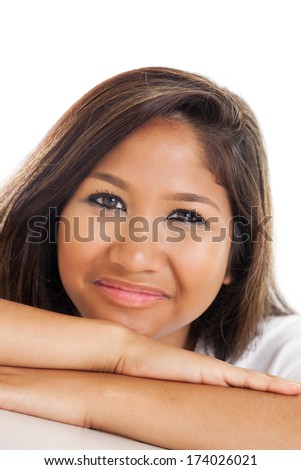 Close up portrait of a beautiful early 20s Malaysian young woman isolated on white background - stock photo
